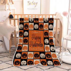 Halloween Different Pumpkin Crafting Facial Expression Quilted Throw Blankets