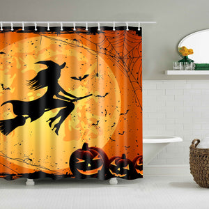 Halloween Flying Witch Shadow Shower Curtain