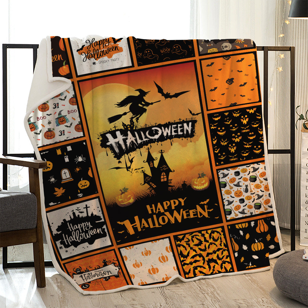 Halloween Flying Witch with Bats at Night Quilted Throw Blankets