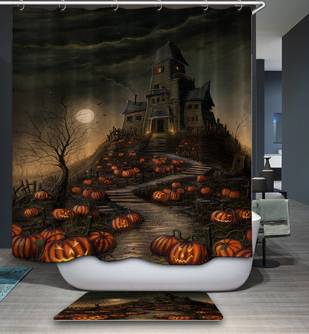 Halloween Haunted House Pumpkin Scary Shower Curtain