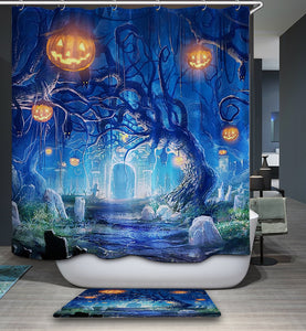 Halloween Mystery Night in Cemetery Landscape Shower Curtain