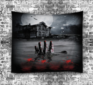 Halloween Night Bloody Hand in River Tapestry