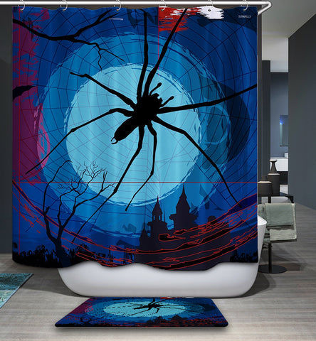 Halloween Night Spider Web Shower Curtain Bathroom Decor