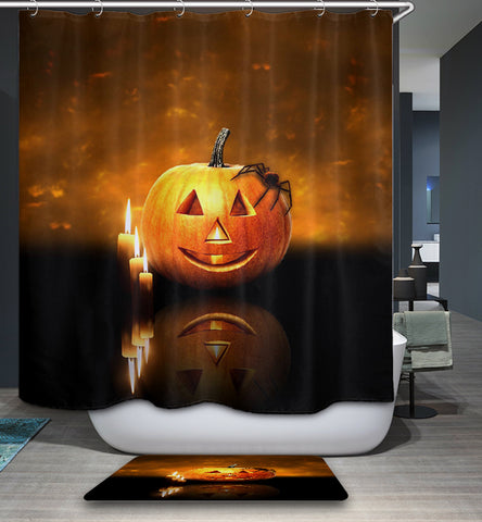 Halloween Pumpkin with Candle Lights Shower Curtain