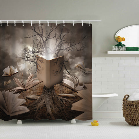 Halloween Tree Roots Reading Story Floating Books Shower Curtain