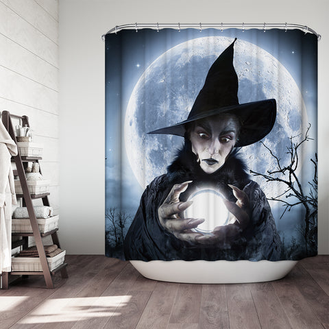 Halloween Witch Clairvoyant In A Spooky Night Shower Curtain