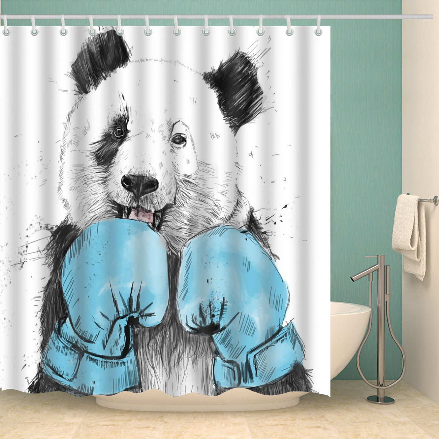 Hand Drawing Boxing Panda Shower Curtain