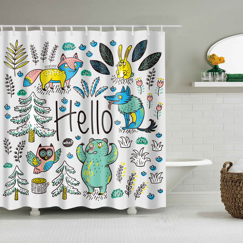 Hand Drawing Enchanted Forest Animal Wild Wolf Shower Curtain
