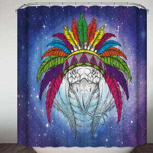 Hand Drawing Indian Roach with Feather Headdress Shower Curtain