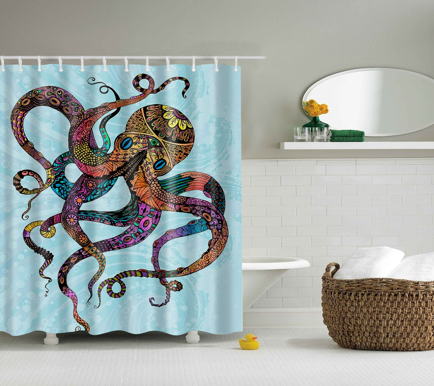 Hand Drawing Neon Psychedelic Octopus Shower Curtain