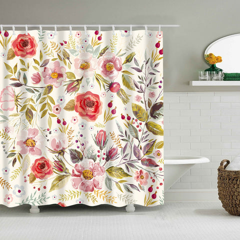 Hand Drawn Floral Romantic Flowers Leaves Shower Curtain