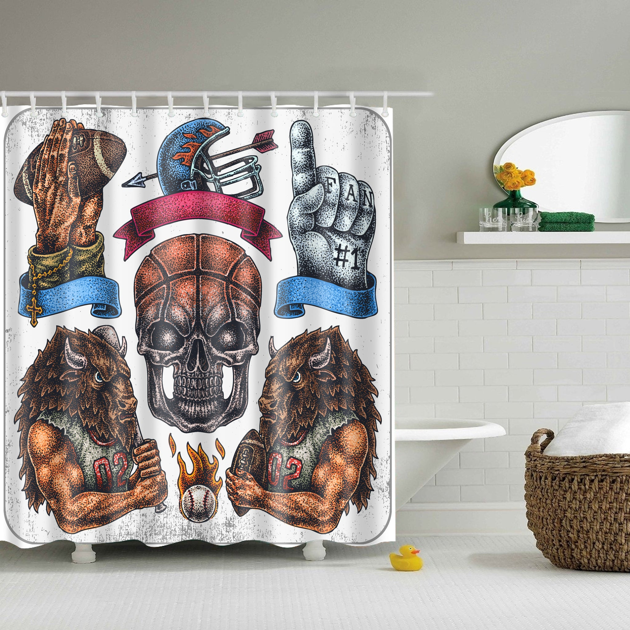 Hand Drawn Set Football Art Shower Curtain | GoJeek