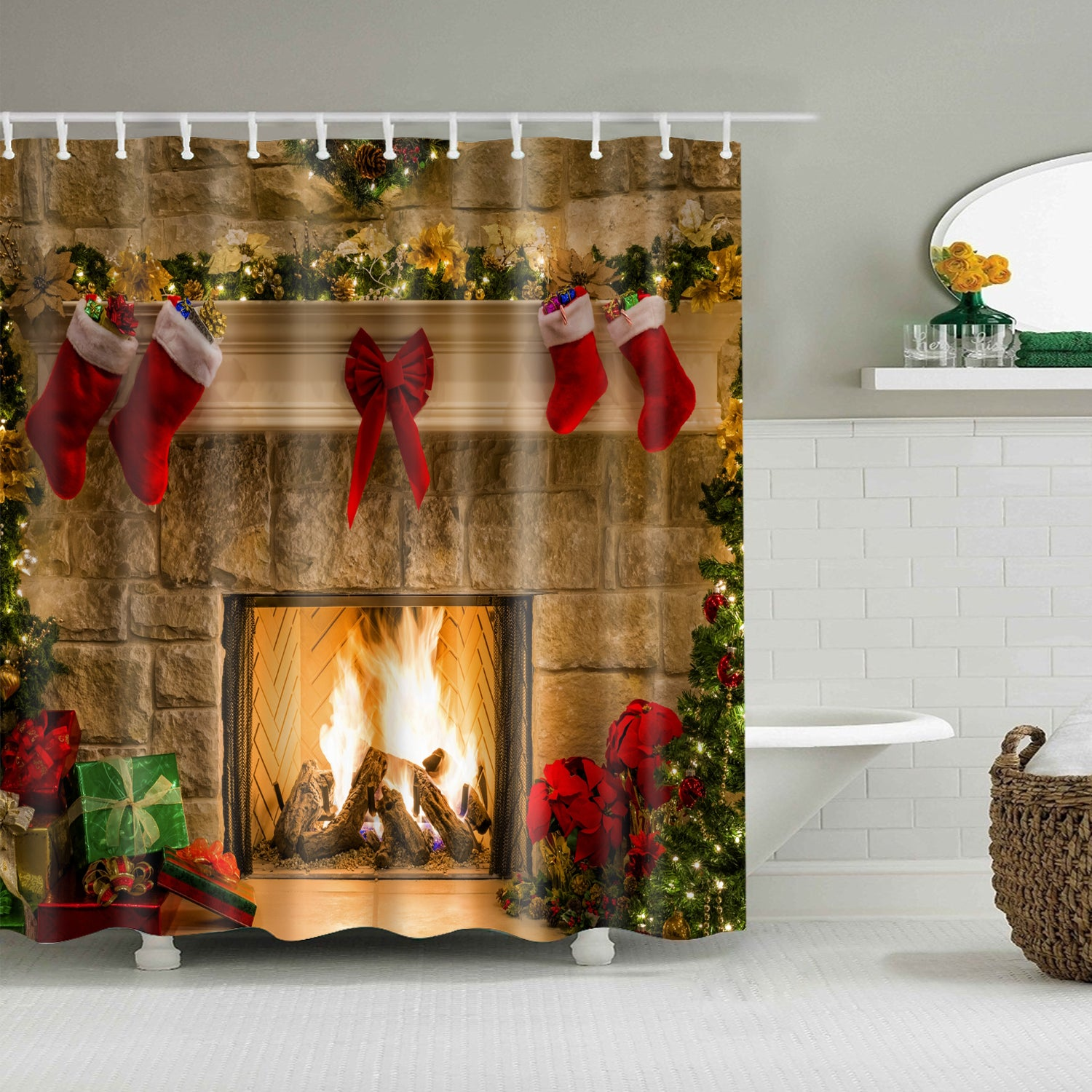 Hanging Christmas Socks with Boiler Shower Curtain