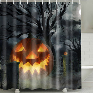 Hanging Evil Pumpkin with Horror Skull Shower Curtain