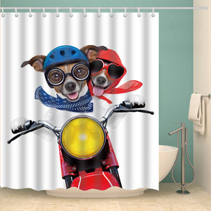 Happy Riding Cute Pet Design Dog Shower Curtain
