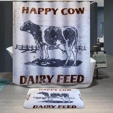 Happy Cow Dairy Feed Farmhouse Cattle Shower Curtain