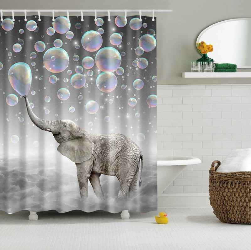 Happy Elephant Bubble Shower Curtain | GoJeek