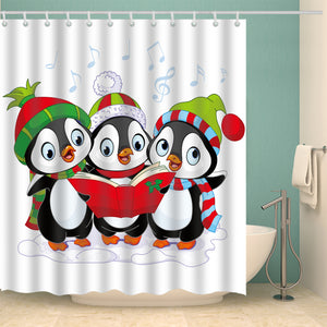 Happy Holidays with Christmas Penguins Shower Curtain