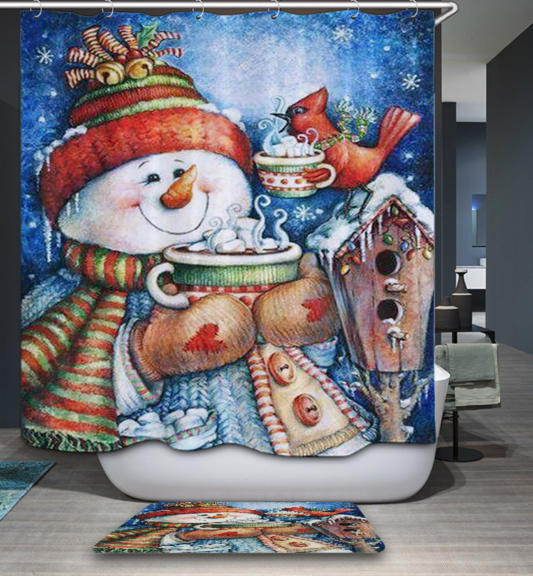 Happy Morning Snowman with Bird Holding Muffin Shower Curtain