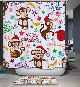 Happy New Merry Christmas Holiday Monkey Shower Curtain