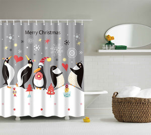 Happy Penguin Merry Christmas Shower Curtain