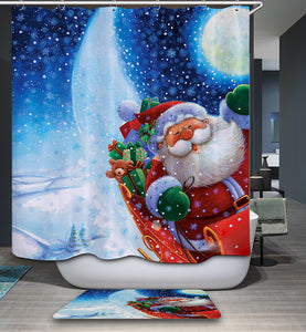 Happy Santa Riding Sleigh Moon Night Shower Curtain