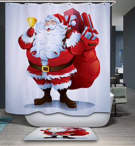 Happy Santa with Gift Bag and Jingle Bell Shower Curtain