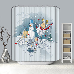 Happy Sheep Playing with Snowman Shower Curtain