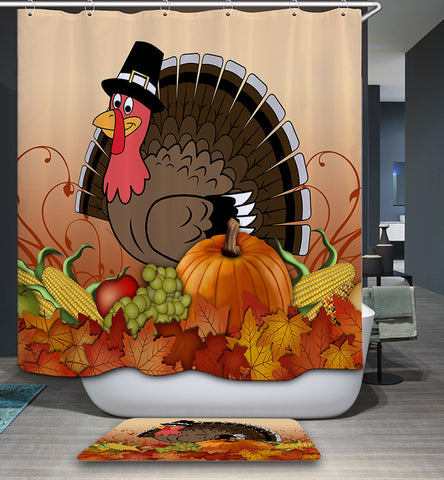 Happy Thanksgiving Day Turkey with Harvest Vegetable Shower Curtain