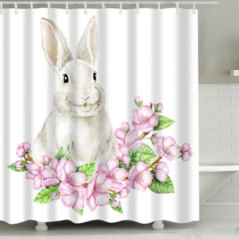 Hare with Floral Cherry Bloom Easter Bunny Shower Curtain