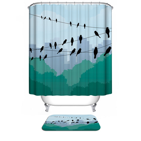 Harmony City Buildings with Green Forest Nature Birds on a Wire Shower Curtain