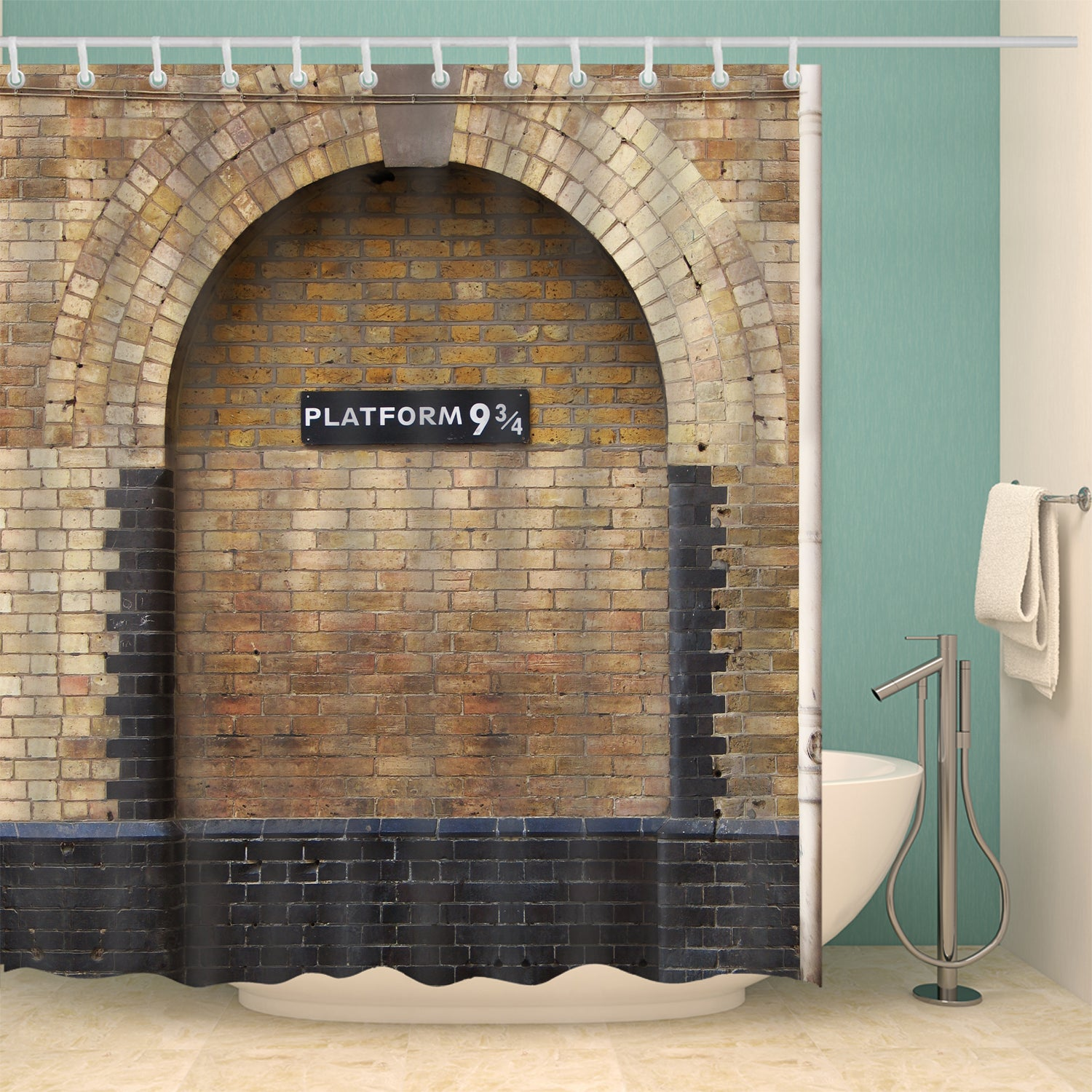 Harry Potter King's Cross Railway Station Platform 9 3/4 Shower Curtain