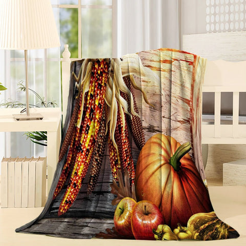 Harvet Vegetables Pumpkin Thanksgiving Throw Blanket
