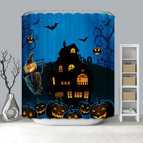 Haunted House Castle Scary Pumpkin Scarecrow Shower Curtain