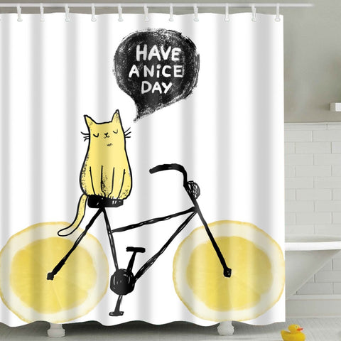 Have a Nice Day Cat Lemon Shower Curtain | GoJeek