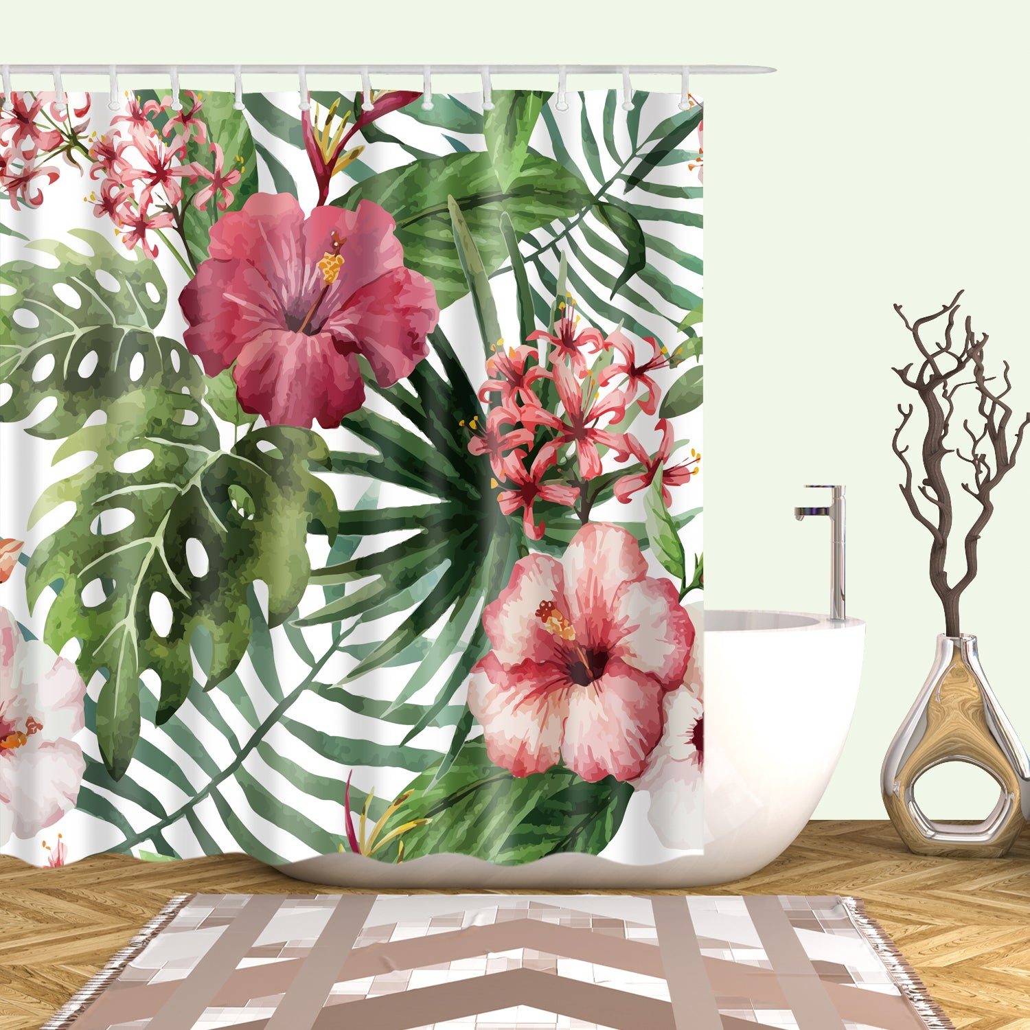 Hawaii Watercolor Tropical Inspiration Shower Curtain