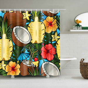 Hawaiian Style Tropical Cocktail and Pineapple Coconut Shower Curtain