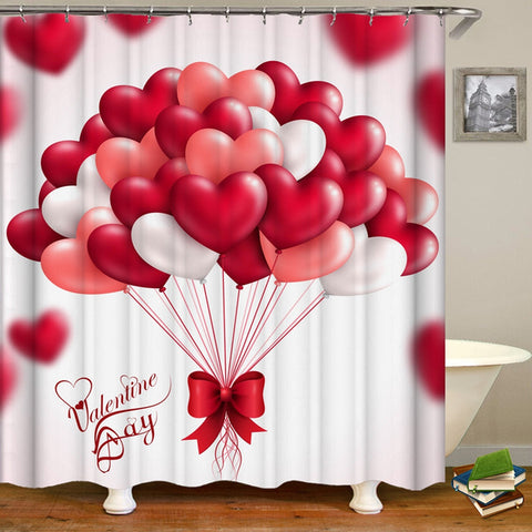 Heart Shaped Balloons Pattern Shower Curtain For Valentine's Day Bathroom Decor
