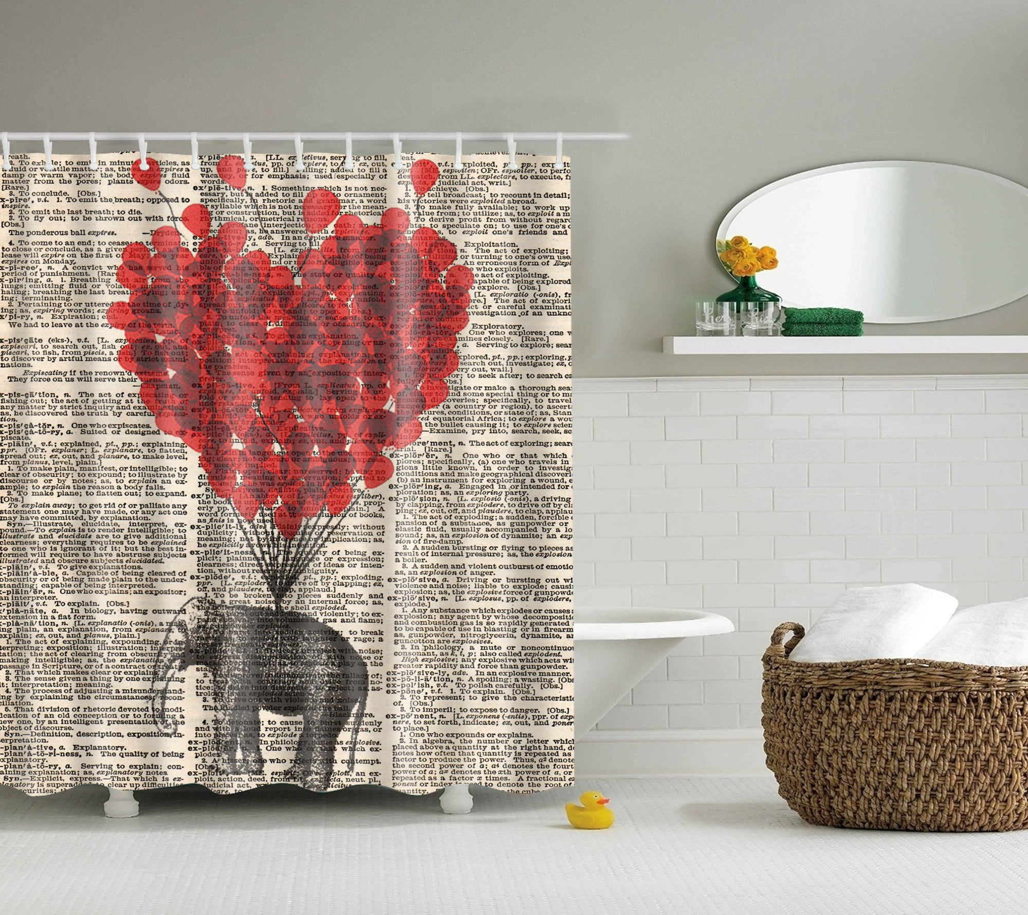 Heart Balloon Hanging Elephant Shower Curtain