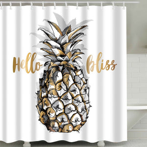 Hello Bliss Gold Pineapple Shower Curtain