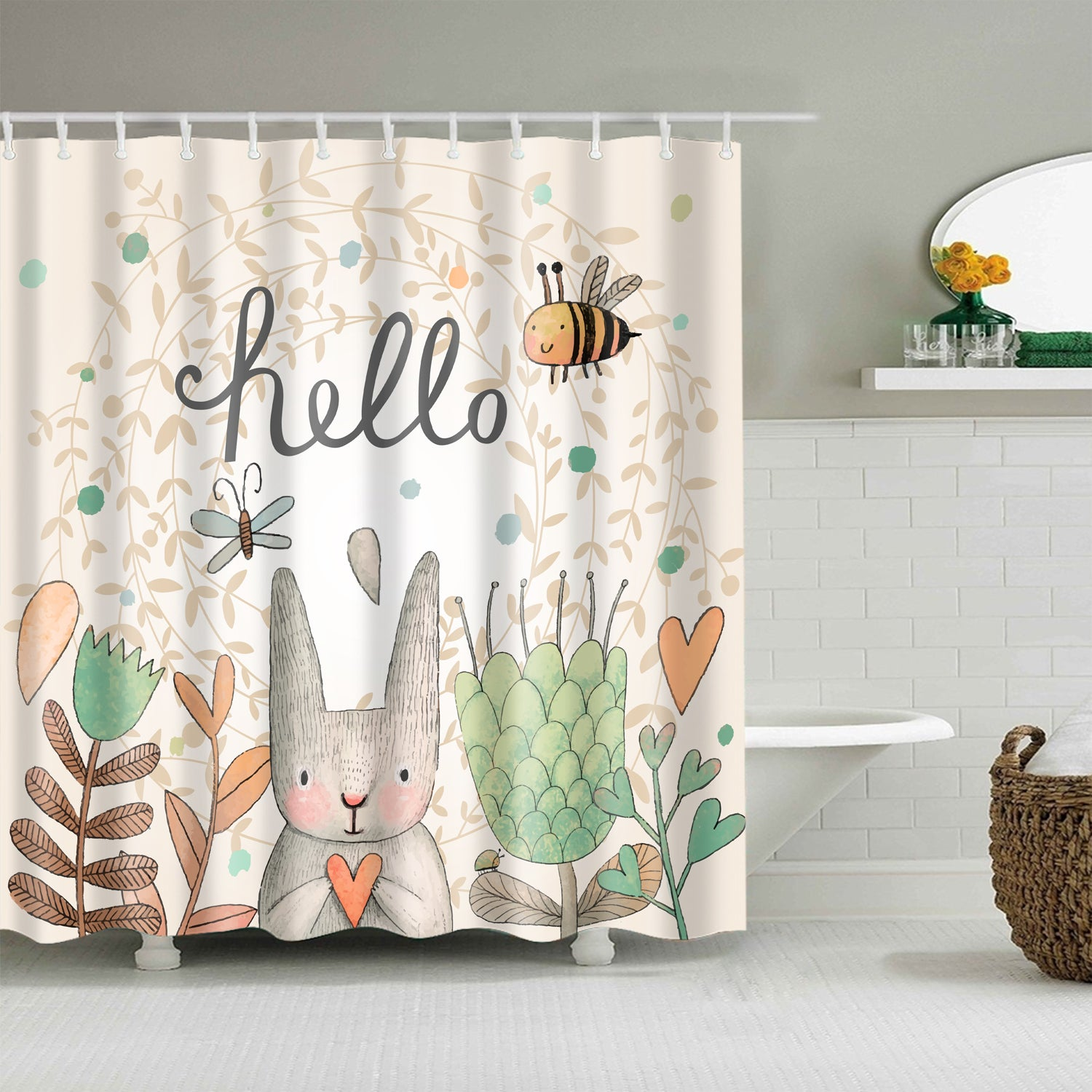 Hello Easter Holiday Cute Rabbit with Bee Spring Shower Curtain