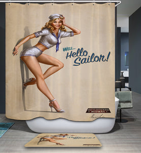 Hello Sailor Pin Up Uniform Girl Shower Curtain