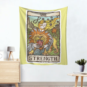 Herakles Strength Colorful Divination Tarot Card Tapestry
