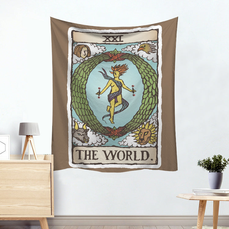 Hermaphrodite The World Colorful Divination Tarot Card Tapestry