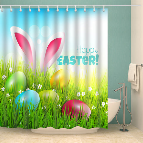 Hidden Rabbit with Eggs Happy Easter Festival Shower Curtain