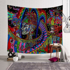 Hippie Arabesque Retro Psychedelic Trippy Tapestry