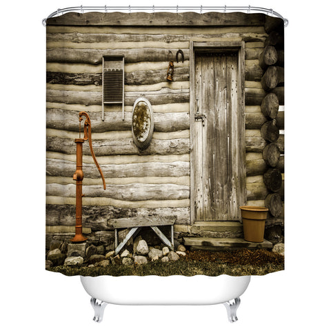 Historical Wooden Exterior Log Cabin Western Cottage Shower Curtain
