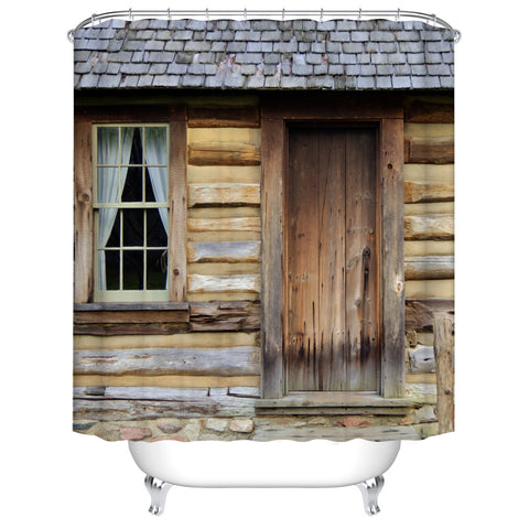 Historical Wooden Front Door and Porch Log Cabin Shower Curtain
