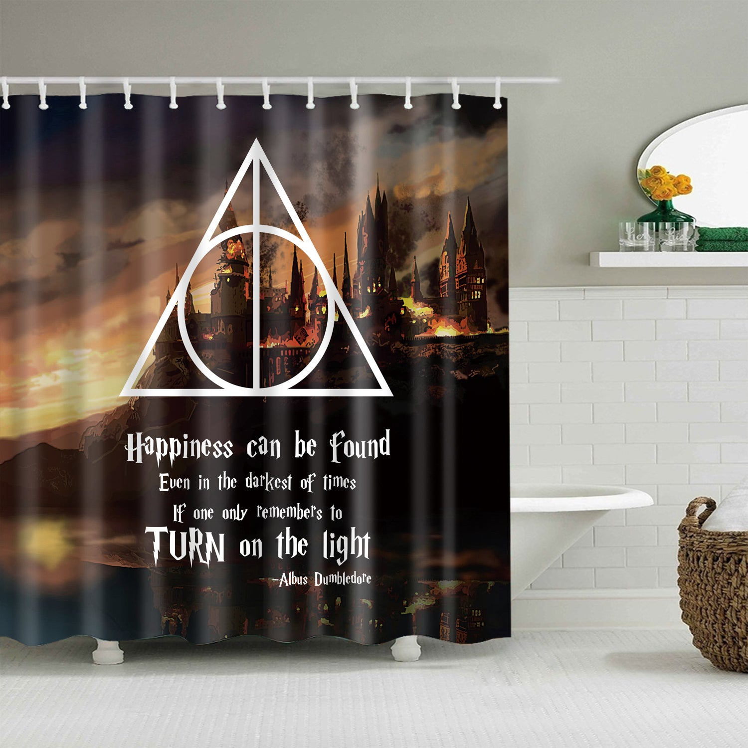 Hogwarts In Fire Inspired Quotes Harry Potter Shower Curtain