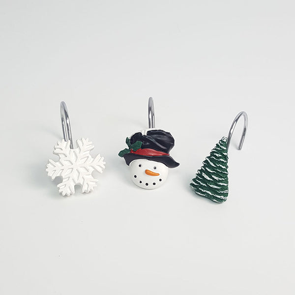 Holiday Snowman Snowflakes Tree Christmas Shower Curtain Rings Hooks